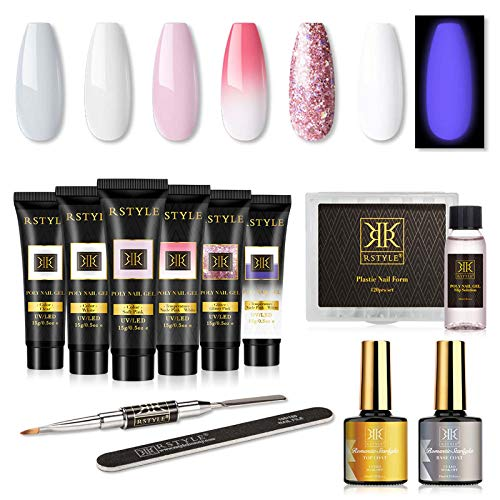 RSTYLE Poly Gel Nail Kit, Nail Extension Builder Gel Kit 6 Colors Poly Nail Gel Kit with Slip Solution Top and Base Coat French Manicure Kit for Beginner DIY at Home in Gift Box