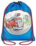 Aminata Kids - Kinder-Turnbeutel für Mädchen und Junge-n mit Feuerwehr-Mann Fire Truck Leiter Feuerwehrauto Sport-Tasche-n Gym-Bag Sport-Beutel-Tasche bunt blau rot