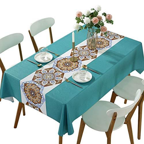 Qualsen Mantel Rectangular de PVC, fácil de Limpiar, Resistente al Agua, Resistente a Las Manchas, Vinilo, Mantel Estampado Bohemio, 137 x 240 cm