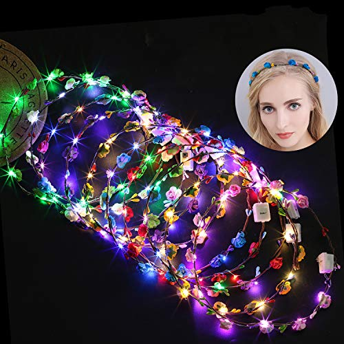 Diadema Flores, Fascigirl 10unids LED Diadema Guirnalda Corona Flores Led Corona de Flores para Niñas Mujeres ideal para Fiesta Halloween Boda Fotografía