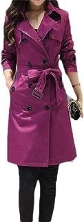 FSSE Women Double Breasted Belted Classic Jacket Solid Longline Overcoat Tranch Coat
