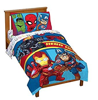 Marvel Super Hero Adventures Double Team 4 Piece Toddler Bed Set – Super Soft Microfiber Bed Set - Bedding Features Captain America Spiderman Iron Man & Black Panther  Official Marvel Product