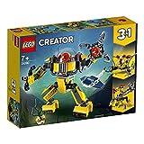 LEGO Creator RobotSottomarino, Gru e Sottomarino,Set di Costruzioni 3in1per Avventure Sottomarine, con Pesce Razza, Giocattolo per Bambini dai 7 Anni in su, 31090