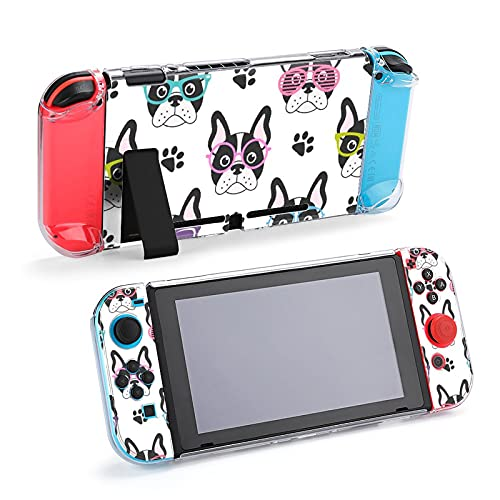 Case for Nintendo Switch,Pattern with French Bulldogs with Glasses Protective Case Cover for Nintendo Switch Funny Fashion Switch Game Shell Handheld Grip Protector Cover