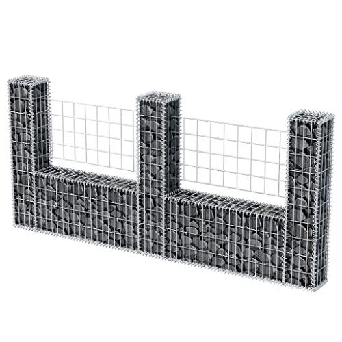Gabione U-Form Stahl 240 x 20 x 100 cm Gabione Wand Sitzfläche Stein-Gabionen Steinzaun Drahtkorb