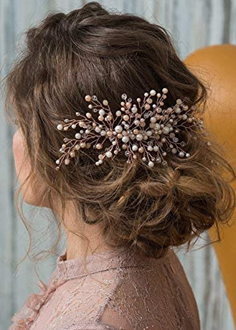 Kercisbeauty Wedding Bridal Bridesmaid Pink Champagne Beads Rose Gold Hair Comb Slide Updo Hair Accessory Prom Headpiece [並行輸入品]