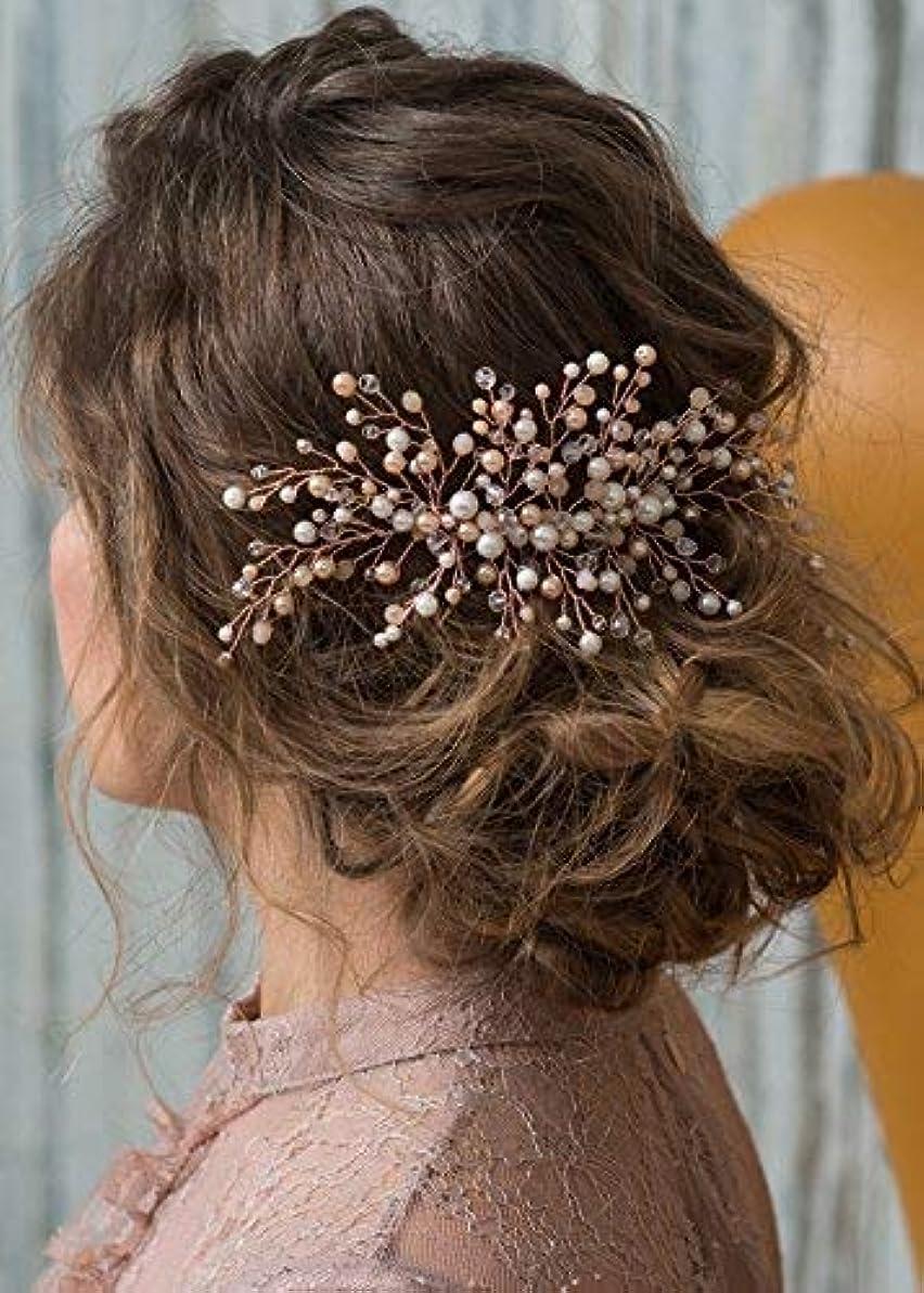 手調停する法医学Kercisbeauty Wedding Bridal Bridesmaid Pink Champagne Beads Rose Gold Hair Comb Slide Updo Hair Accessory Prom Headpiece [並行輸入品]