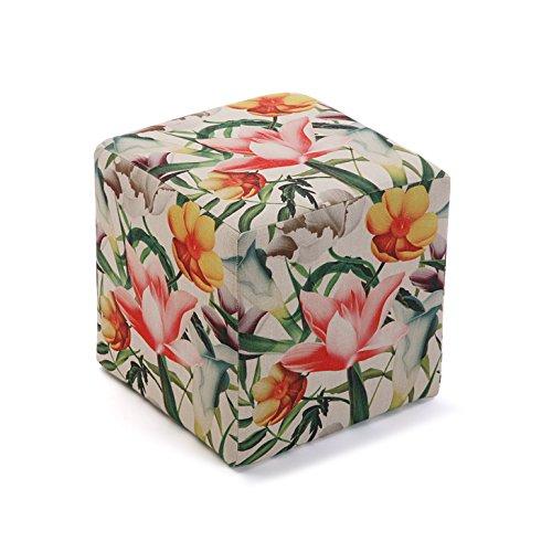Versa 21350172 Tabouret Seau Pouf siège Fleurs,35 X 35 X 35, Multicolore, Repose-Pieds
