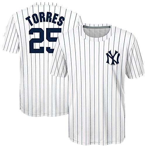 MLB Youth 8-20 Performance Cooperstown Sublimated Name and Number Jersey T-Shirt (Gleyber Torres New York Yankees White, 8)