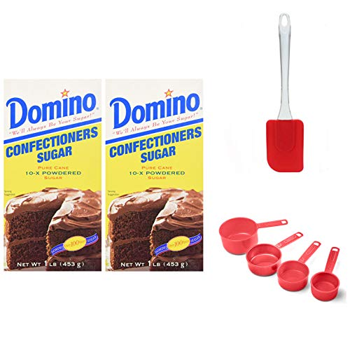 Domino Powdered Confectioners Sugar 16oz, 2 Pack---2 Pounds TOTAL (Including Professional Plastic Classic Measuring Scoops Set & Silicone Mixing Spatula) Domino Sugar & Baking Utensil Set