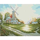 weilan1999 Digitales Ölgemälde Handgemalte Dekorative Malerei Rahmenlose Malerei Färbung Happy Hut Windmühle40X50Cm