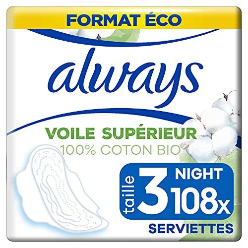 Always Cotton Protection Ultra Night, Serviettes Hygiéniques, Taille 3 avec Ailettes, Format Eco x108 (12 packs de 9 unités)