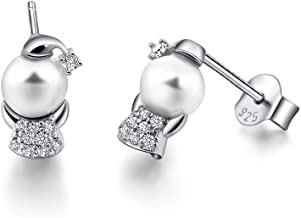 Lisa Simpson 925 Sterling Silver Guardian Angel with Wings Stud Earrings for Women, Pearl & Cubic Zirconia Ear Piercing Studs with Gift Box, Perfect for Her