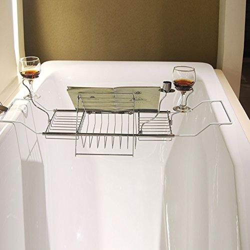 バスタブトレーブックスタンド付きバスタブラックバスブックスタンドバステーブルバスタブトレー伸縮式お風呂用バスグッズ伸縮式61cm~85cmステンレス