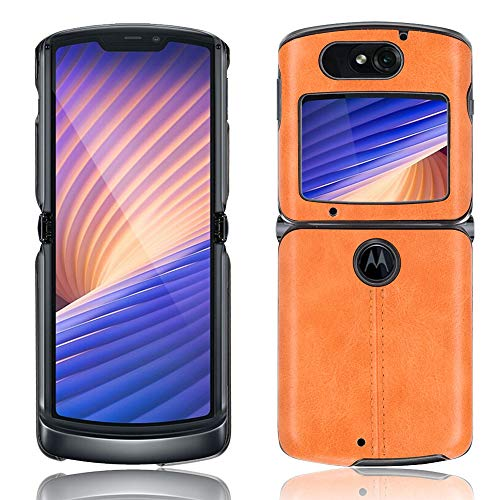 SPAK Motorola Razr 5G 2020 Hülle,Weicher TPU Rahmen + PU-Leder Harte Rückseitige Schutzhülle für Motorola Razr 5G 2020 (Gelb)