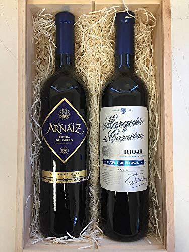 Cesta de Navidad de Madera con Dos Botellas de Vino Tinto Viña Arnáiz de Ribera del Duero de 75 cl y Vino Marqués de Carrión de 75 c
