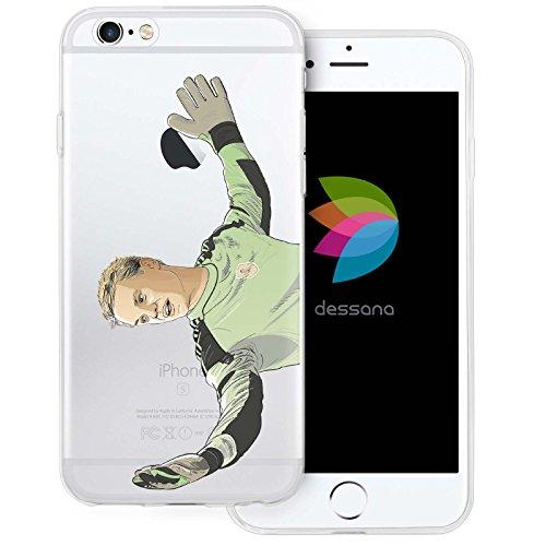 dessana Fußballer transparente Silikon TPU Schutzhülle 0,7mm dünne Handy Tasche Soft Case für Apple iPhone 6/6S Torwart