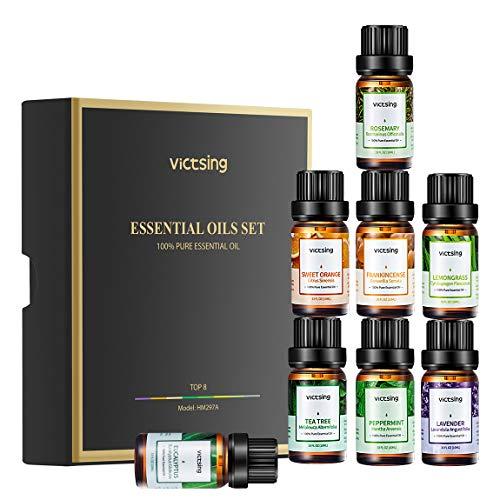 VicTsing Set de Regalo Essential Aceite (8 x 10 ml), Aceites 100% Puros para Difusores de Aceite: Lavanda, Limoncillo, Arbol de Té, Naranja Dulce, Eucalipto, Menta, Romero, Incienso