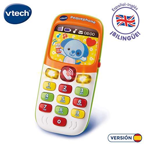 VTech Pequephone bilingüe, teléfono infantil con luces, sonidos y canciones en inglés...
