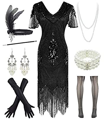Women 1920s Off Shoulder Fringe Sequin Cocktail Prom Dress with 20s Gatsby Accessories Set