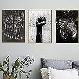 Schwarz Weiß Wandkunst Hände und Fäuste Leinwand Malerei