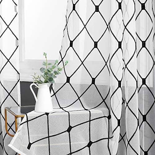 Top Finel White Sheer Curtains 84 Inches Long Black Embroidered Diamond Grommet Window Curtains for Living Room Bedroom, 2 Panels