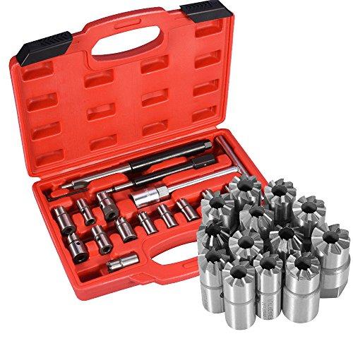 AllRight 17tlg Injektor Fräser Diesel Dichtsitz Fräser Satz Werkzeug Set Einspritzdüsen Diesel Injektoren Abzieher Werkzeug Injektor Auszieher