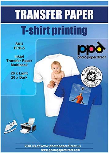 PPD A4 x 40 Hojas de Papel de Transferencia Térmica Para Camisetas, Mascarillas y Tejidos Mixtos (20 hh. Telas Claras y 20 hh. Telas Oscuras) - Para Impresora de Inyección de Tinta Inkjet - PPD-5-MIXN