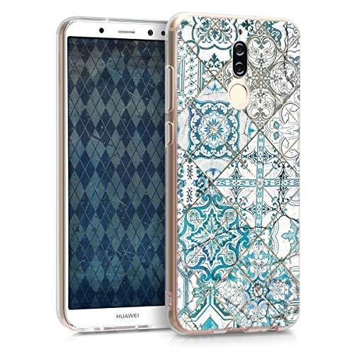 kwmobile Carcasa Compatible con Huawei Mate 10 Lite - Funda de TPU y Azulejos Cuadrados en Azul/Gris/Blanco