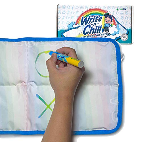 """Writable Weighted Lap Pad for Kids: 10""""x20"""" 3 lbs Weighted Lap Blanket with Water Drawing Mat Feature- Travel Weighted Blanket for Kids on The Road- Car Ride, Airplane- Certified Sensory Inclusive"""