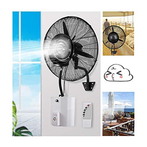 HRD Ventilador de pared industrial con función de niebla, con mando a distancia, humidificador de alta potencia, temporizador de 7 horas, tanque de agua de 15 L, metal, 70cm/28in
