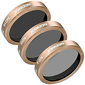 Neewer 3 Pieces Neutral Density ND Filter Kit for Autel X-Star X-Star Premium Drones Multi-Coated Filters Made of Ultra High Definition Glass and Aluminum Frame Includes ND4 ND8 ND16 Filters Gold