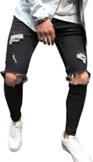 AnyuA Strappati Jeans Attillato da Uomo Slim Fit Biker con Cerniera Pantalone Skinny Sfilacciato