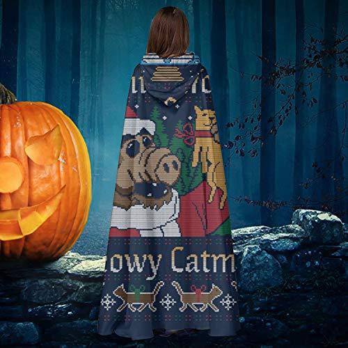 AISFGBJ Meowy Catmas Alf - Capa de Disfraz de Halloween con Capucha, diseño navideño
