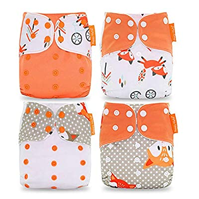 Wenosda 4PCS Baby Cloth Diaper Pocket Nappies Washable Reusable Diapers Insert All-in-One Pocket Nappy for Most Babies and Toddlers (Orange Fox Pattern)