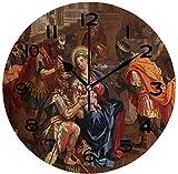 Reloj de pared redondo con escena de belén, adoración de los magos para colgar...