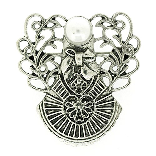 PYNK Jewellery Brooches Store Antique Silver Filigree and Pearl Guardian Angel Brooch