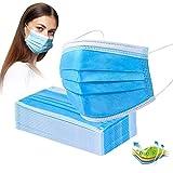 Protector bucal y nasal, 100/200 unidades, 3 capas, desechable, color azul (200 unidades)