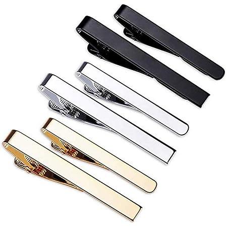 Dylan-EU Lot de 6 pinces /à cravate classiques en cuivre avec 3 tons dor/és et argent/és pour homme