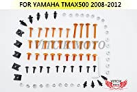 VITCIK ヤマハ Yamaha TMAX500 2008 2009 2010 2011 2012 TMAX 500 08 09 10 11 12 オートバイ用フルフェアリングボルトネジキット ファスナー CNC アルミクリップ (オレンジ色 & シルバー)