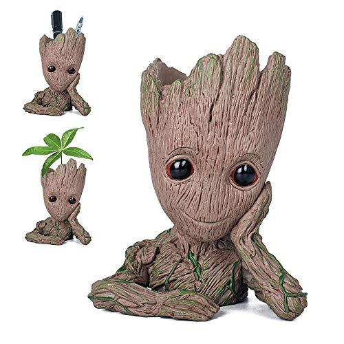 Pawaca - Maceta para plantas del personaje de dibujos de acci�n Groot, con agujero, de Guardianes de la Galaxia, ideal como regalo para ni�os.