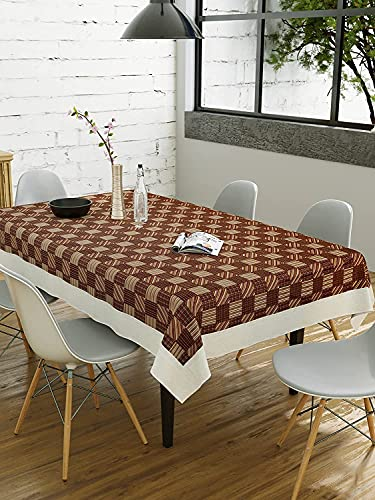 CASA-NEST 4 Seater PVC Table Cover; Beige & Brown Squares; Anti Slip; 40×60 Inches; 4 Seater