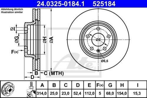 2x Bremsscheibe PowerDisc belüftet Ø 314 mm Vorne (24.0325-0184.1) Vorne von ATE (Set24.0325-0184.1) Bremsanlage Bremsscheibenset, Scheibenbremse, Satz, Bremsscheibensatz