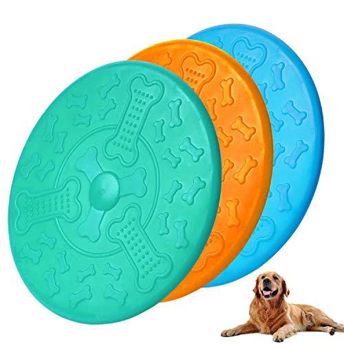 MICHETT Frisbee,Naturkautschuk Hundefrisbee 18cm Langlebiges Training Hundespielzeug,Perfekt Frisbee Scheibe Spielzeug für Hunde,Werfen, Hundetraining, Spielen & Fangen(3 Stück)