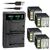 Kastar 4-Pack Battery and LTD2 USB Charger Replacement for JVC GR-D340EY GR-D340EZ GR-D345 GR-D345E GR-D345EG GR-D345US GR-D346 GR-D346EY GR-D346US GR-D347 GR-D347U GR-D347US GR-D350 GR-D350AA