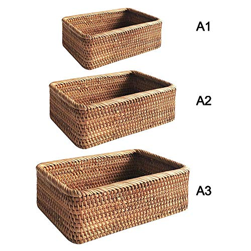 JIESD-Z Handmade Rectangular Weaving Rattan Wicker Fruits Basket Bread Tray Hand-knitted Snack Organizer Simple Retro Picnic Storage Decor for Home Kitchen- Set of 3
