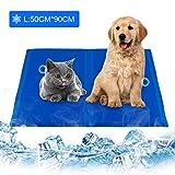 infinitoo Kühlmatte Hunde Katzen Haustiere Matte zur Regulierung der Körpertemperatur Pad Selbstkühlendes Kühlkissen Kühl Hundedecke Kaltgelpad Blau(L: 50 * 90CM)
