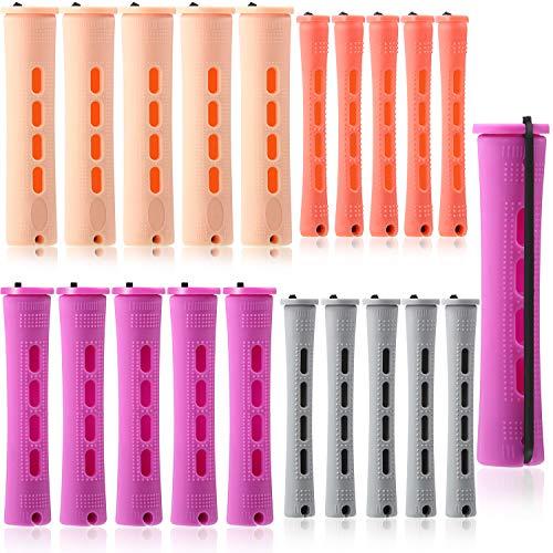80 Stück Haar Dauerwelle Stangen Set 4 Größen Kalt Wellen Stangen Haarrollen Kunststoff Dauerwelle Stangen Lockenwickler für Friseur Styling, 4 Farben