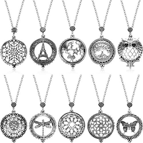 10 Pieces Magnifying Glass Long Necklace with Reading Magnifying Glass Pendant (Antique Silver)