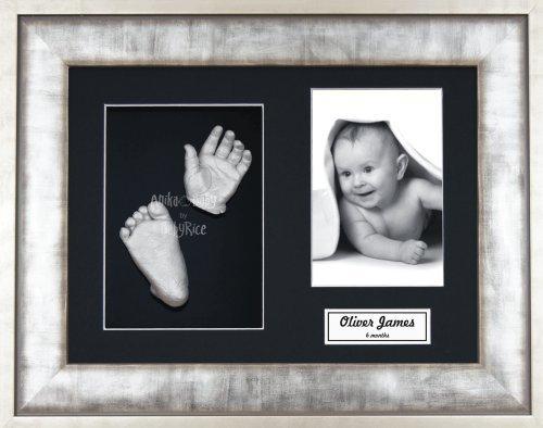 Anika-Baby Kit de moulage pour bébé Cadre 3 ouvertures Effet métal urbain Passe-partout noir/fond noir/peinture argenté 29,1 x 21,6 cm